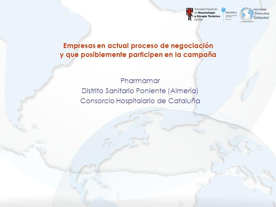 Pharmamar Distrito Sanitario Poniente (Almería) Consorcio Hospitalario de Cataluña Empresas en actual proceso de negociación y que posiblemente partic