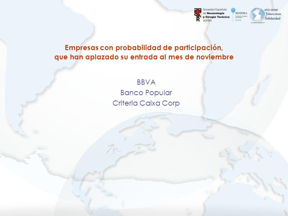 BBVA Banco Popular Criteria Caixa Corp Empresas con probabilidad de participación, que han aplazado su entrada al mes de noviembre