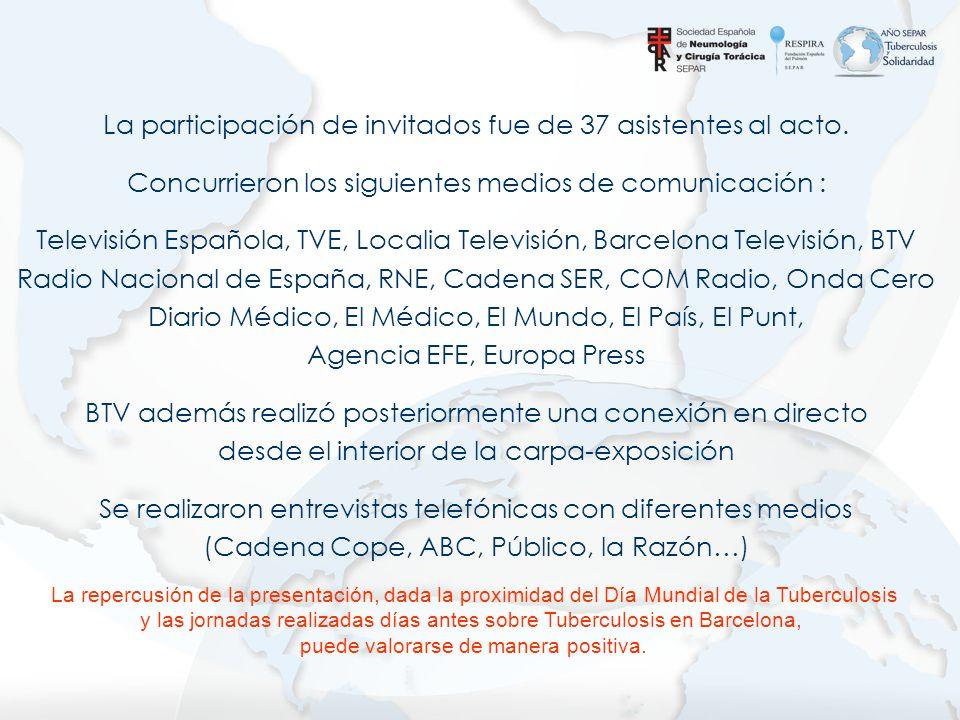 La participación de invitados fue de 37 asistentes al acto. Concurrieron los siguientes medios de comunicación : Televisión Española, TVE, Localia Tel