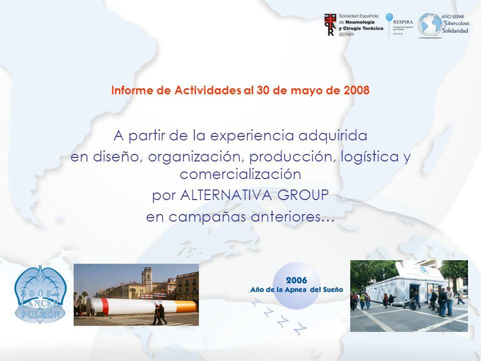 Informe de Actividades al 30 de mayo de 2008 A partir de la experiencia adquirida en diseño, organización, producción, logística y comercialización po