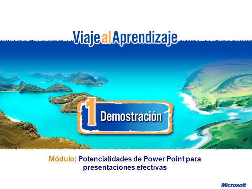 Potencialidades de Power Point para presentaciones efectivas R e d d e P r o f e s o r e s I n n o v a d o r e s Módulo: Potencialidades de Power Poin