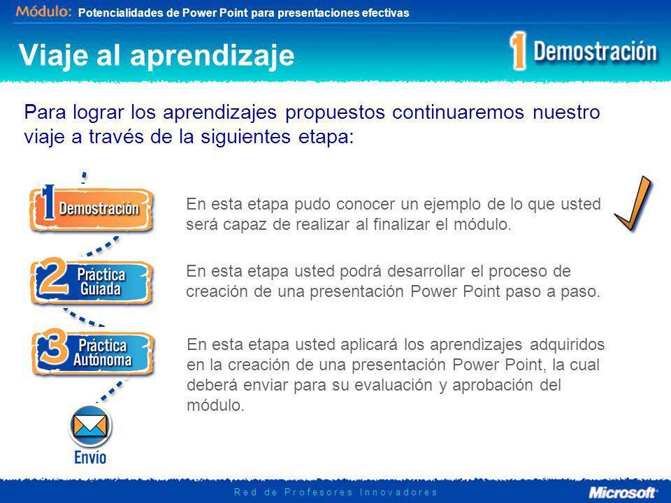 Potencialidades de Power Point para presentaciones efectivas R e d d e P r o f e s o r e s I n n o v a d o r e s Viaje al aprendizaje Para lograr los