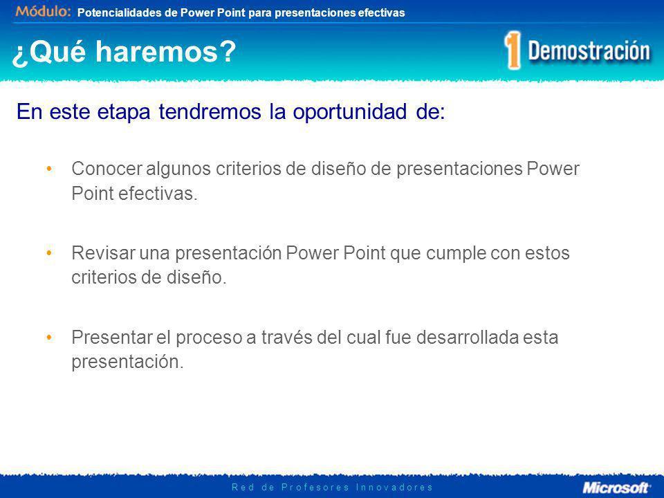 Potencialidades de Power Point para presentaciones efectivas R e d d e P r o f e s o r e s I n n o v a d o r e s ¿Qué haremos? En este etapa tendremos