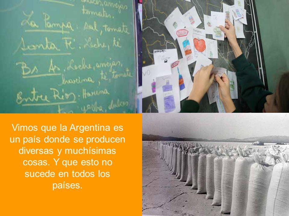 Vimos que la Argentina es un país donde se producen diversas y muchísimas cosas. Y que esto no sucede en todos los países.
