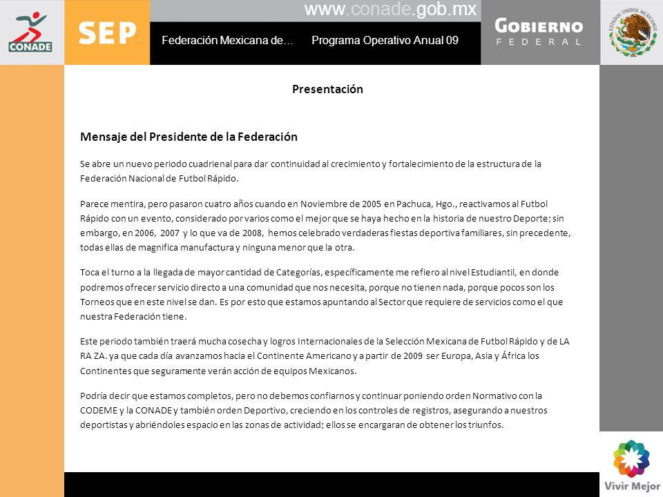 www.conade.gob.mx Presentación Mensaje del Presidente de la Federación Se abre un nuevo periodo cuadrienal para dar continuidad al crecimiento y fortalecimiento de la estructura de la Federación Nacional de Futbol Rápido.
