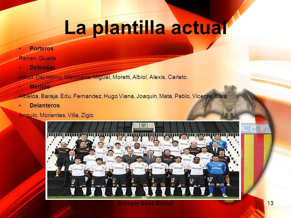 Enrique Sanz Bisbal13 La plantilla actual Porteros Renan, Guaita Defensas Albiol, Del Horno, Marchena, Miguel, Moretti, Albiol, Alexis, Carleto. Medio