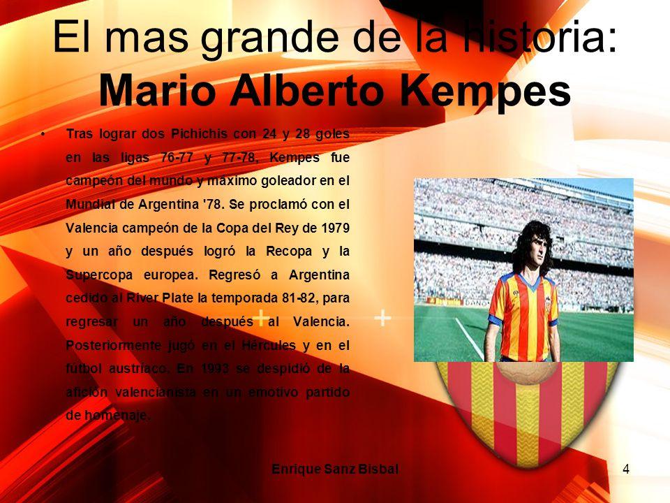 Enrique Sanz Bisbal4 El mas grande de la historia: Mario Alberto Kempes Tras lograr dos Pichichis con 24 y 28 goles en las ligas 76-77 y 77-78, Kempes
