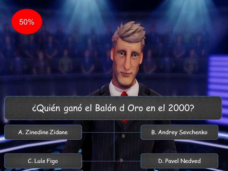 ¿Quién ganó el Balón d Oro en el 2000? A. Zinedine Zidane C. Luís Figo B. Andrey Sevchenko D. Pavel Nedved 50%