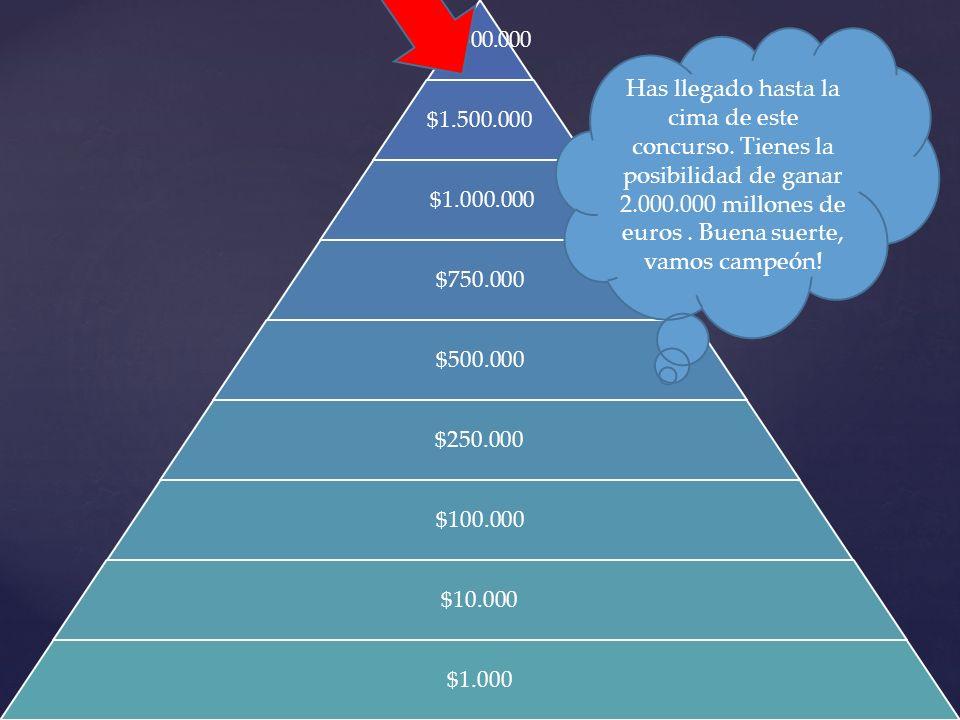 $2.000.000 $1.500.000 $1.000.000 $750.000 $500.000 $250.000 $100.000 $10.000 $1.000 Has llegado hasta la cima de este concurso. Tienes la posibilidad