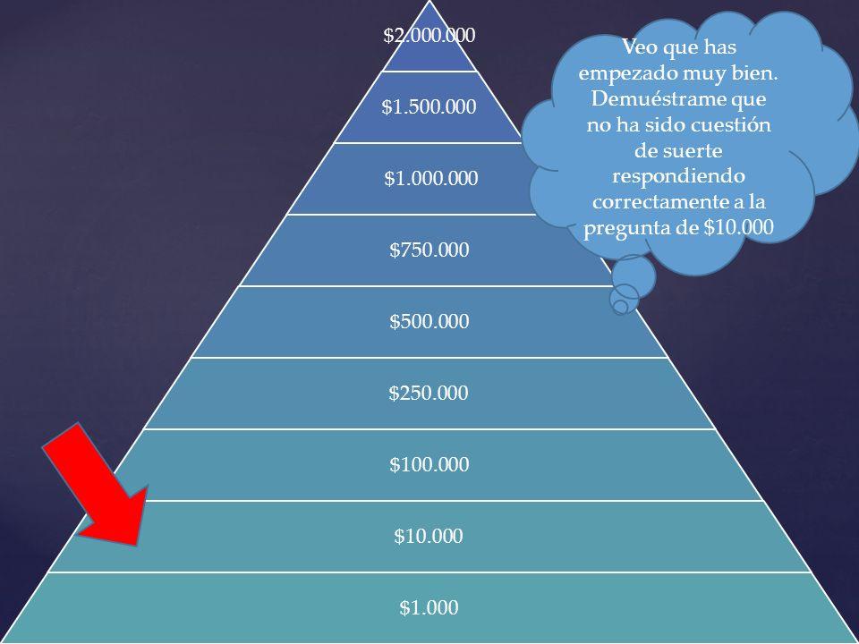 $2.000.000 $1.500.000 $1.000.000 $750.000 $500.000 $250.000 $100.000 $10.000 $1.000 Veo que has empezado muy bien. Demuéstrame que no ha sido cuestión