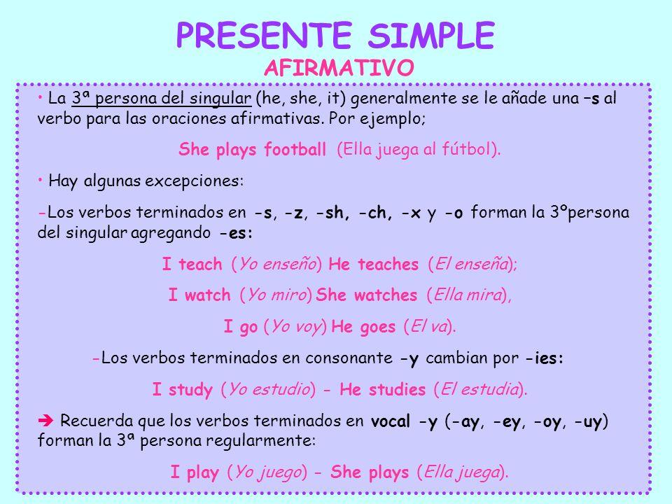 PRESENTE SIMPLE AFIRMATIVO La 3ª persona del singular (he, she, it) generalmente se le añade una –s al verbo para las oraciones afirmativas. Por ejemp
