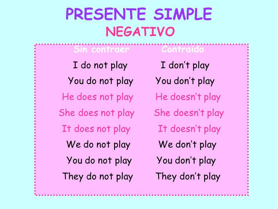 PRESENTE SIMPLE Sin contraer Contraido I do not play I dont play You do not play You dont play He does not play He doesnt play She does not play She d