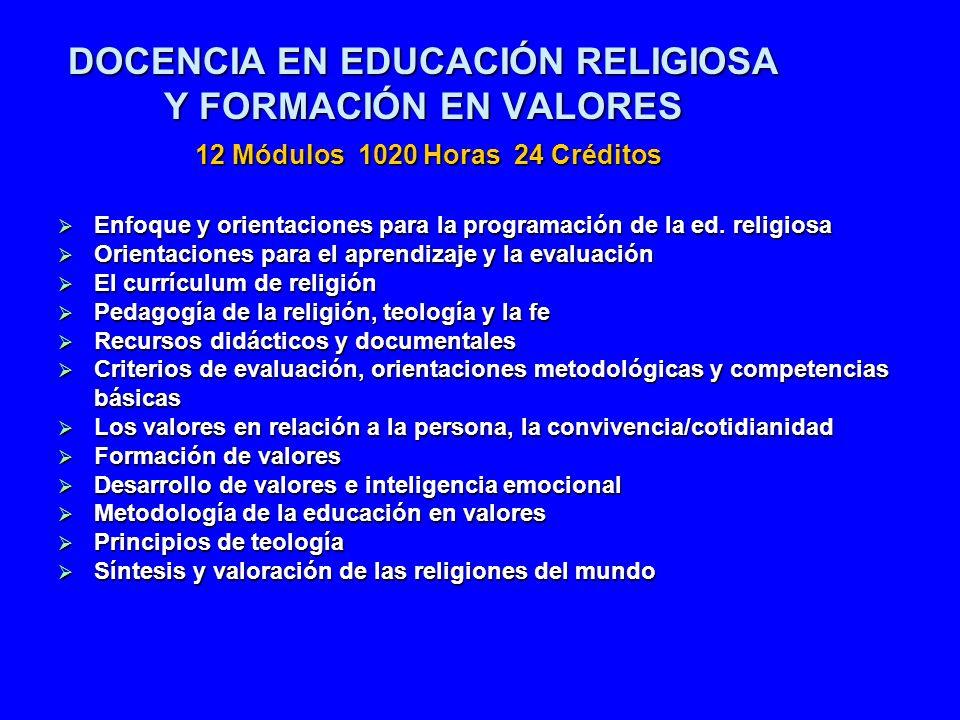 DOCENCIA EN EDUCACIÓN RELIGIOSA Y FORMACIÓN EN VALORES 12 Módulos 1020 Horas 24 Créditos Enfoque y orientaciones para la programación de la ed. religi