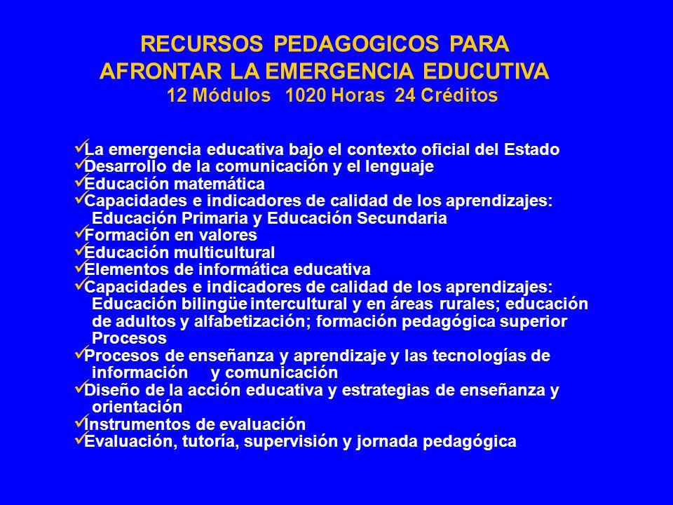 La emergencia educativa bajo el contexto oficial del Estado Desarrollo de la comunicación y el lenguaje Educación matemática Capacidades e indicadores