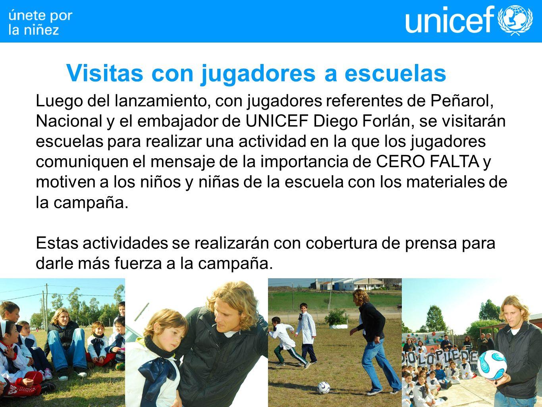 Luego del lanzamiento, con jugadores referentes de Peñarol, Nacional y el embajador de UNICEF Diego Forlán, se visitarán escuelas para realizar una actividad en la que los jugadores comuniquen el mensaje de la importancia de CERO FALTA y motiven a los niños y niñas de la escuela con los materiales de la campaña.