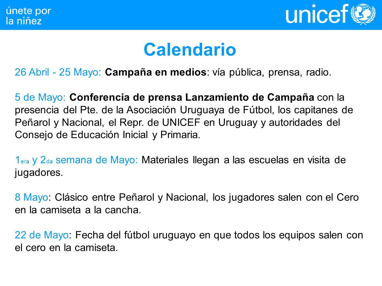 Calendario 26 Abril - 25 Mayo: Campaña en medios: vía pública, prensa, radio. 5 de Mayo: Conferencia de prensa Lanzamiento de Campaña con la presencia