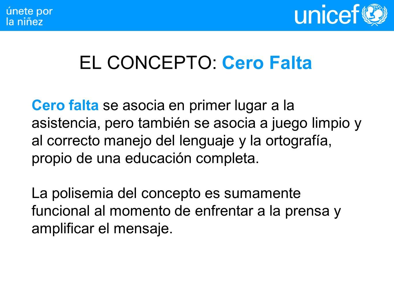 EL CONCEPTO: Cero Falta Cero falta se asocia en primer lugar a la asistencia, pero también se asocia a juego limpio y al correcto manejo del lenguaje y la ortografía, propio de una educación completa.