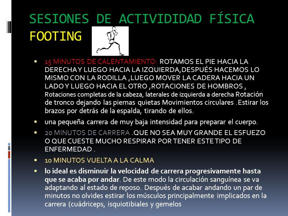 SESIONES DE ACTIVIDIDAD FÍSICA FOOTING 15 MINUTOS DE CALENTAMIENTO: ROTAMOS EL PIE HACIA LA DERECHA Y LUEGO HACIA LA IZQUIERDA,DESPUÉS HACEMOS LO MISM