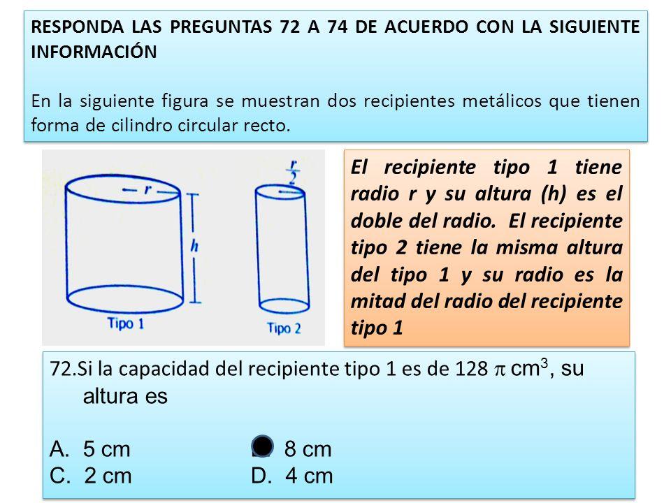 RESPONDA LAS PREGUNTAS 72 A 74 DE ACUERDO CON LA SIGUIENTE INFORMACIÓN En la siguiente figura se muestran dos recipientes metálicos que tienen forma d