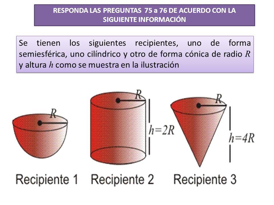 Se tienen los siguientes recipientes, uno de forma semiesférica, uno cilíndrico y otro de forma cónica de radio R y altura h como se muestra en la ilu