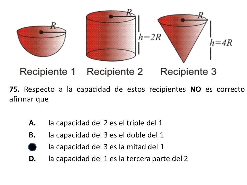 75. Respecto a la capacidad de estos recipientes NO es correcto afirmar que A.la capacidad del 2 es el triple del 1 B.la capacidad del 3 es el doble d