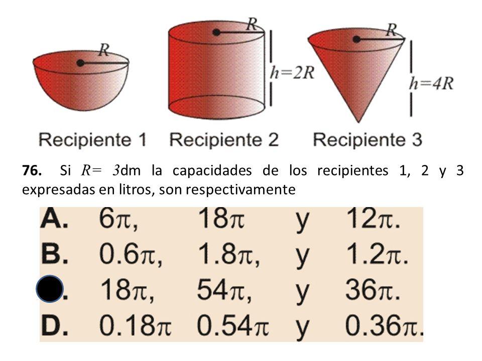 76. Si R= 3 dm la capacidades de los recipientes 1, 2 y 3 expresadas en litros, son respectivamente