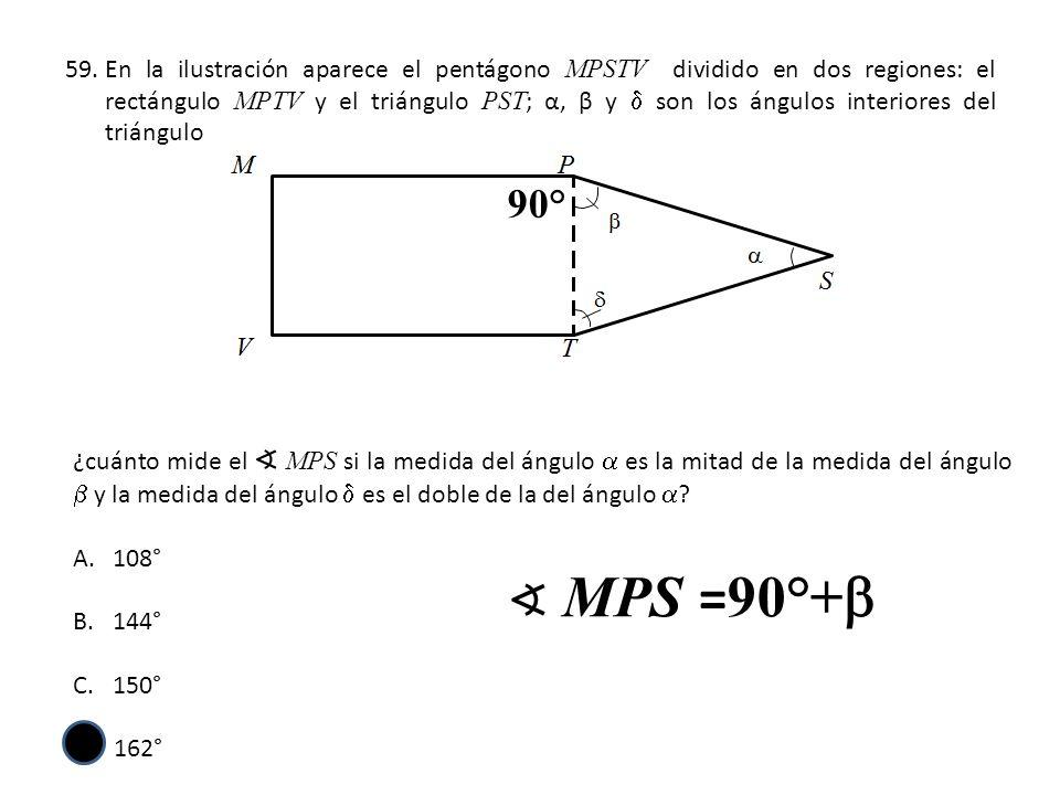 59.En la ilustración aparece el pentágono MPSTV dividido en dos regiones: el rectángulo MPTV y el triángulo PST ; α, β y son los ángulos interiores de