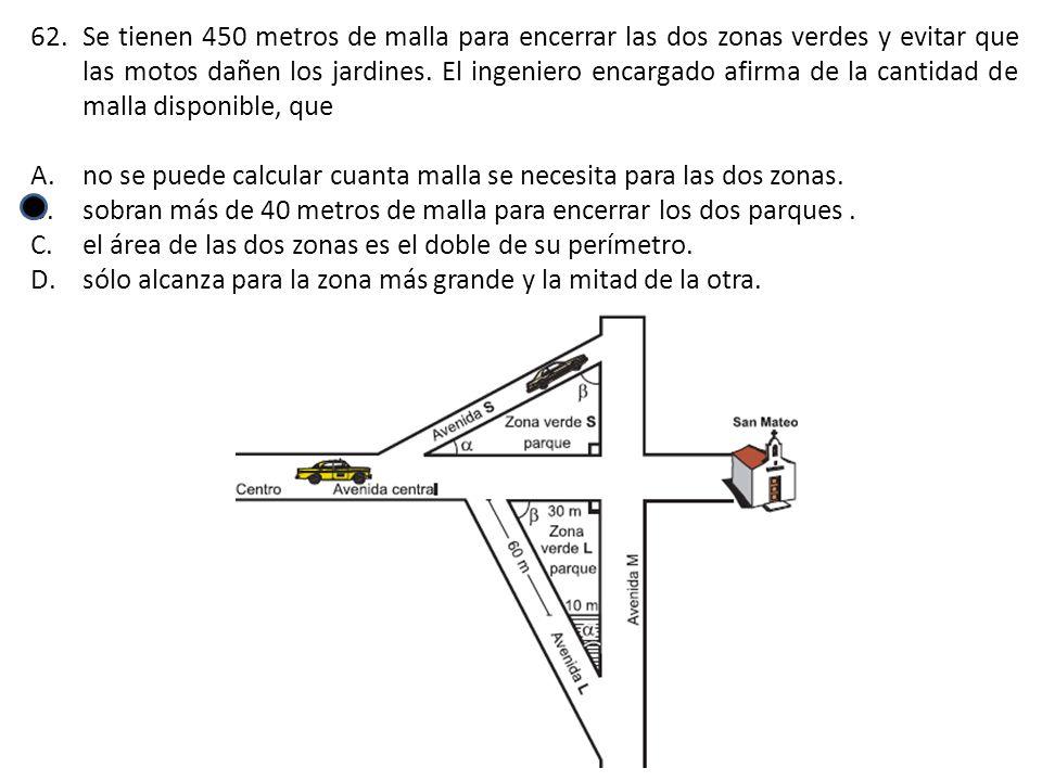 62.Se tienen 450 metros de malla para encerrar las dos zonas verdes y evitar que las motos dañen los jardines. El ingeniero encargado afirma de la can