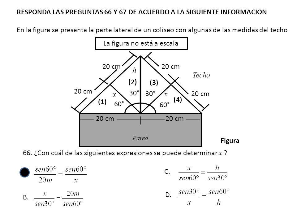 RESPONDA LAS PREGUNTAS 66 Y 67 DE ACUERDO A LA SIGUIENTE INFORMACION En la figura se presenta la parte lateral de un coliseo con algunas de las medida