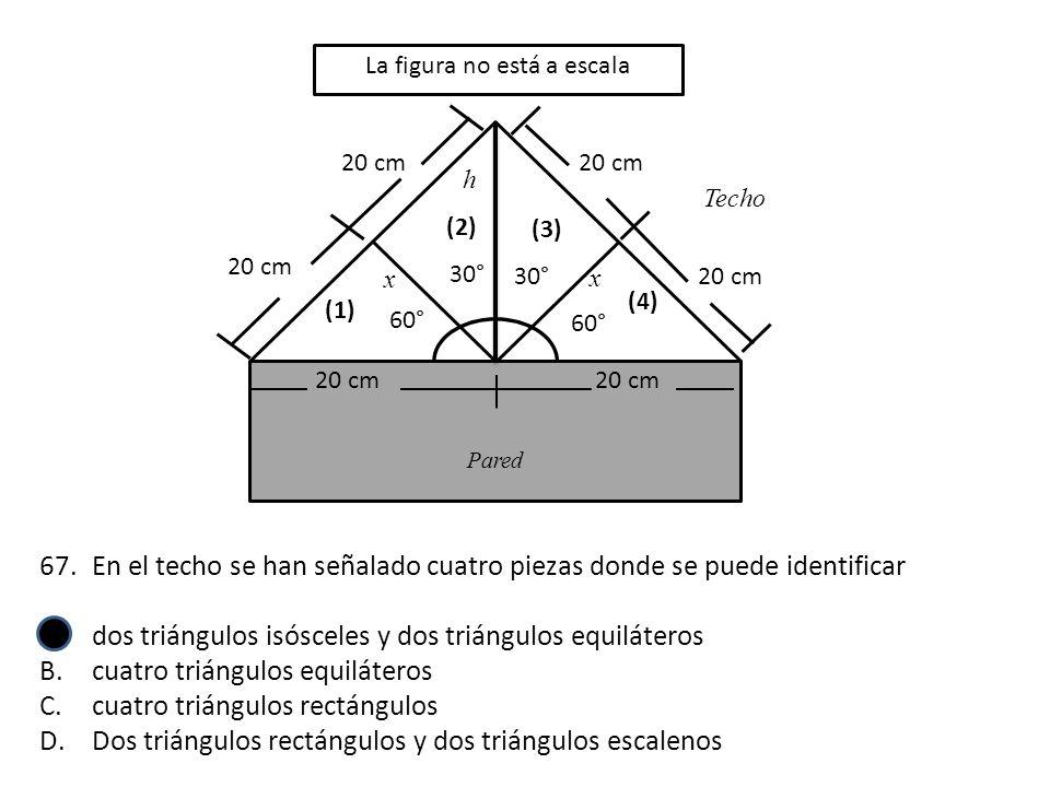 20 cm Techo Pared 20 cm (1) 60° x 30° 60° x (2) (3) (4) h La figura no está a escala 67.En el techo se han señalado cuatro piezas donde se puede ident