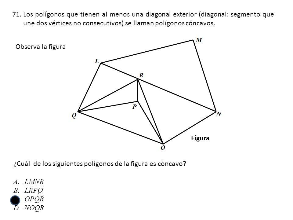 71.Los polígonos que tienen al menos una diagonal exterior (diagonal: segmento que une dos vértices no consecutivos) se llaman polígonos cóncavos. ¿Cu