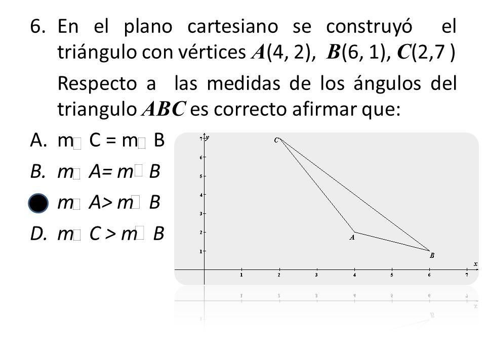 6.En el plano cartesiano se construyó el triángulo con vértices A (4, 2), B (6, 1), C (2,7 ) Respecto a las medidas de los ángulos del triangulo ABC e