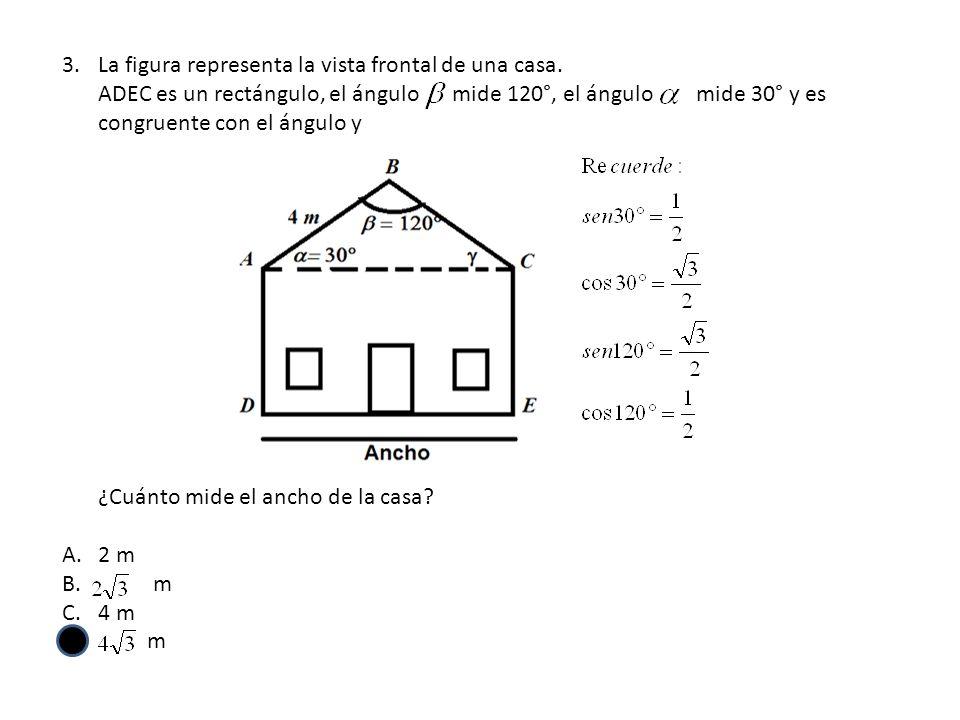 3.La figura representa la vista frontal de una casa. ADEC es un rectángulo, el ángulo mide 120°, el ángulo mide 30° y es congruente con el ángulo y ¿C