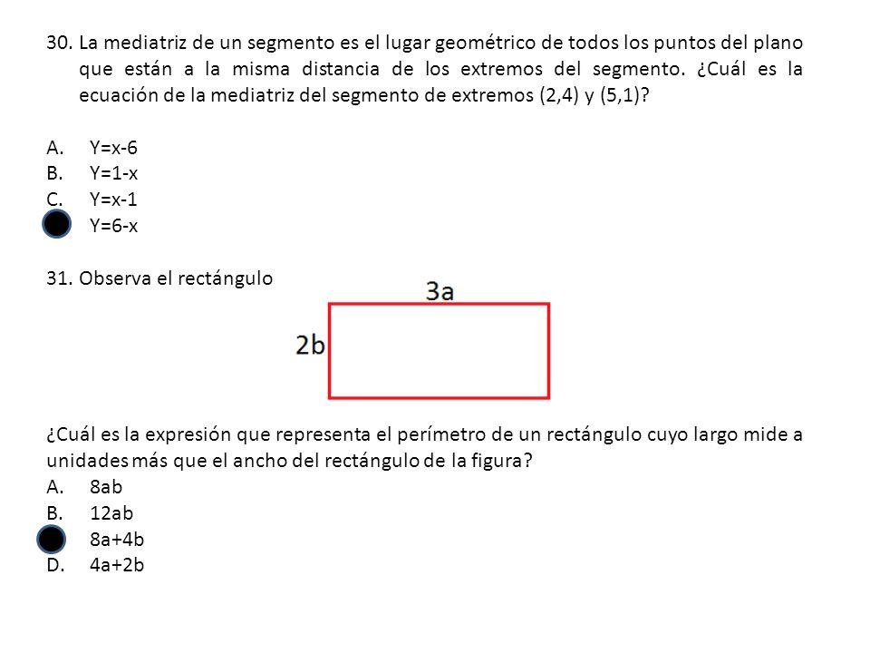 30.La mediatriz de un segmento es el lugar geométrico de todos los puntos del plano que están a la misma distancia de los extremos del segmento. ¿Cuál