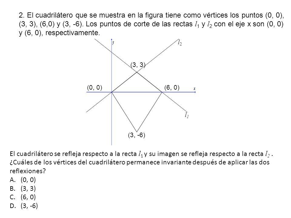2. El cuadrilátero que se muestra en la figura tiene como vértices los puntos (0, 0), (3, 3), (6,0) y (3, -6). Los puntos de corte de las rectas l 1 y