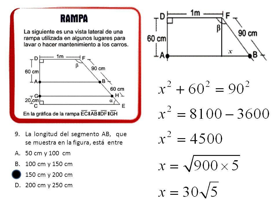 9.La longitud del segmento AB, que se muestra en la figura, está entre A.50 cm y 100 cm B.100 cm y 150 cm C.150 cm y 200 cm D.200 cm y 250 cm x