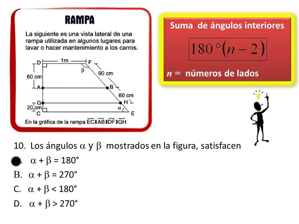 10.Los ángulos y mostrados en la figura, satisfacen + = 180° + = 270° C. + < 180° D. + > 270° Suma de ángulos interiores n = números de lados Suma de