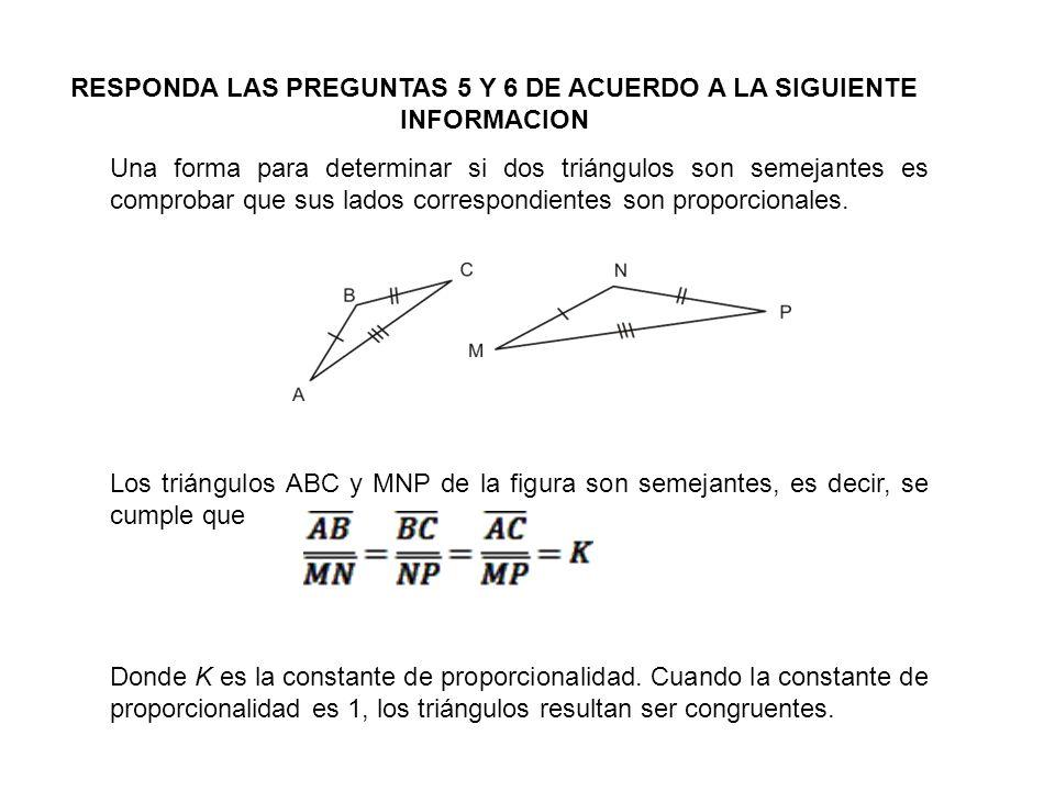 Una forma para determinar si dos triángulos son semejantes es comprobar que sus lados correspondientes son proporcionales. Los triángulos ABC y MNP de
