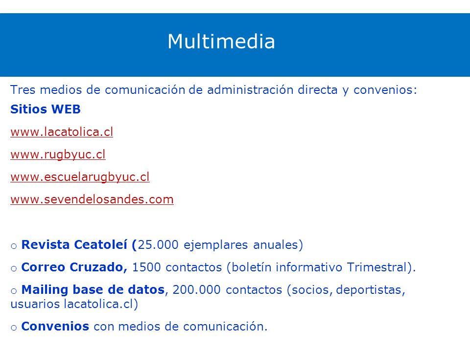 Multimedia Tres medios de comunicación de administración directa y convenios: Sitios WEB www.lacatolica.cl www.rugbyuc.cl www.escuelarugbyuc.cl www.sevendelosandes.com o Revista Ceatoleí (25.000 ejemplares anuales) o Correo Cruzado, 1500 contactos (boletín informativo Trimestral).