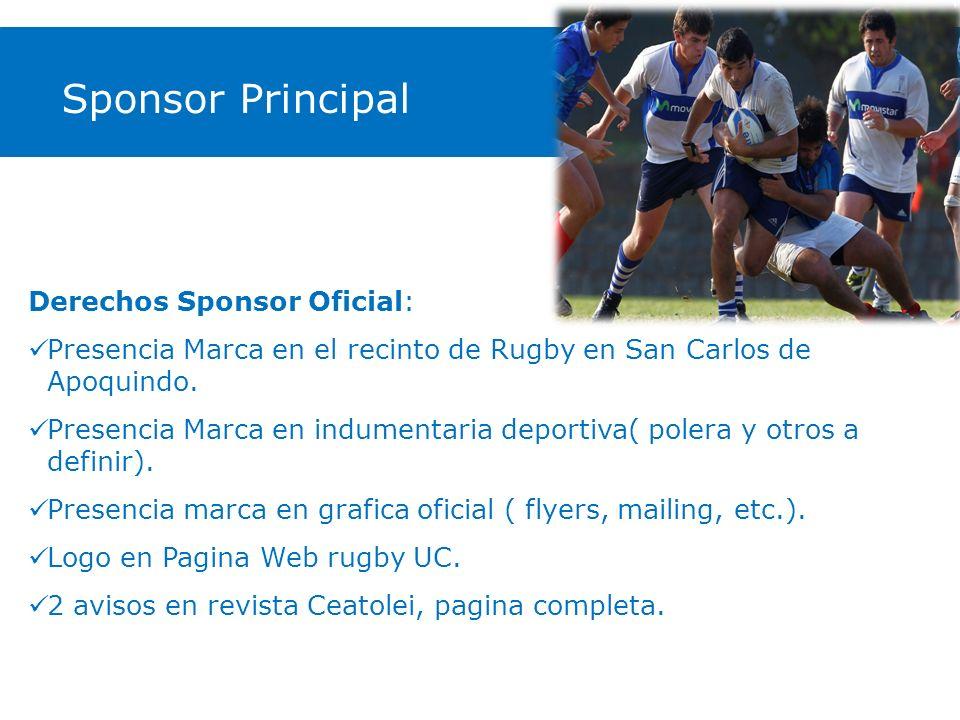 Derechos Sponsor Oficial: Presencia Marca en el recinto de Rugby en San Carlos de Apoquindo. Presencia Marca en indumentaria deportiva( polera y otros