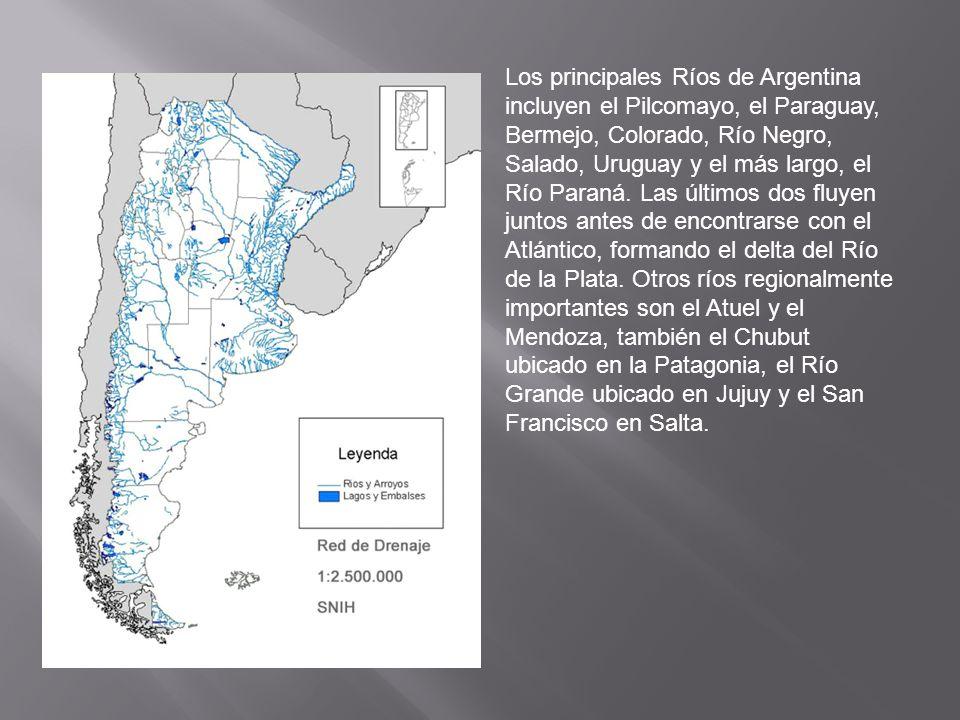 Los principales Ríos de Argentina incluyen el Pilcomayo, el Paraguay, Bermejo, Colorado, Río Negro, Salado, Uruguay y el más largo, el Río Paraná. Las