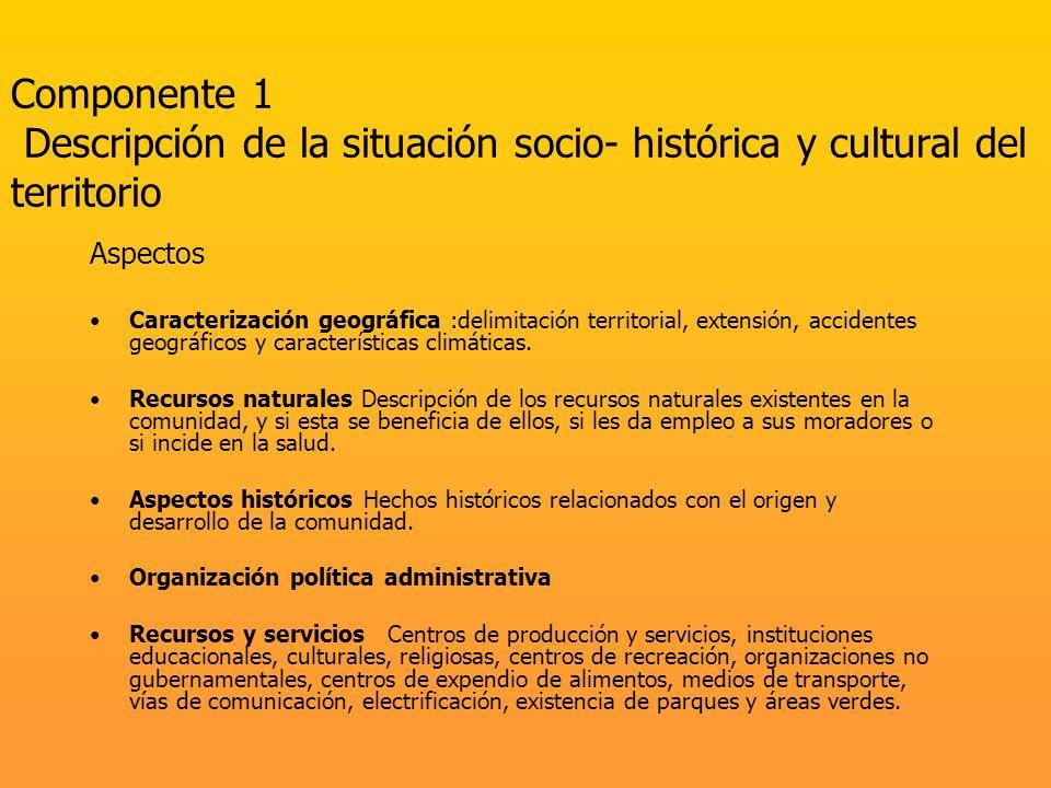 Componente 1 Descripción de la situación socio- histórica y cultural del territorio Aspectos Caracterización geográfica :delimitación territorial, ext