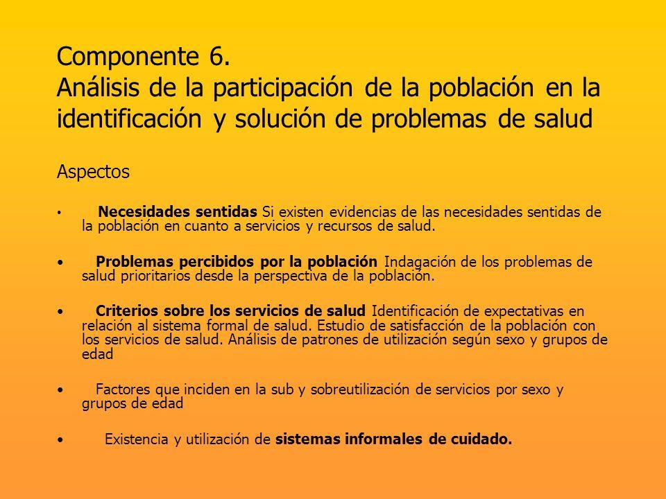Componente 6. Análisis de la participación de la población en la identificación y solución de problemas de salud Aspectos Necesidades sentidas Si exis