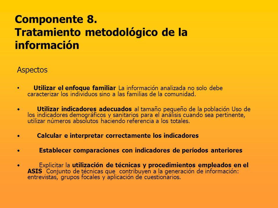 Componente 8. Tratamiento metodológico de la información Aspectos Utilizar el enfoque familiar La información analizada no solo debe caracterizar los