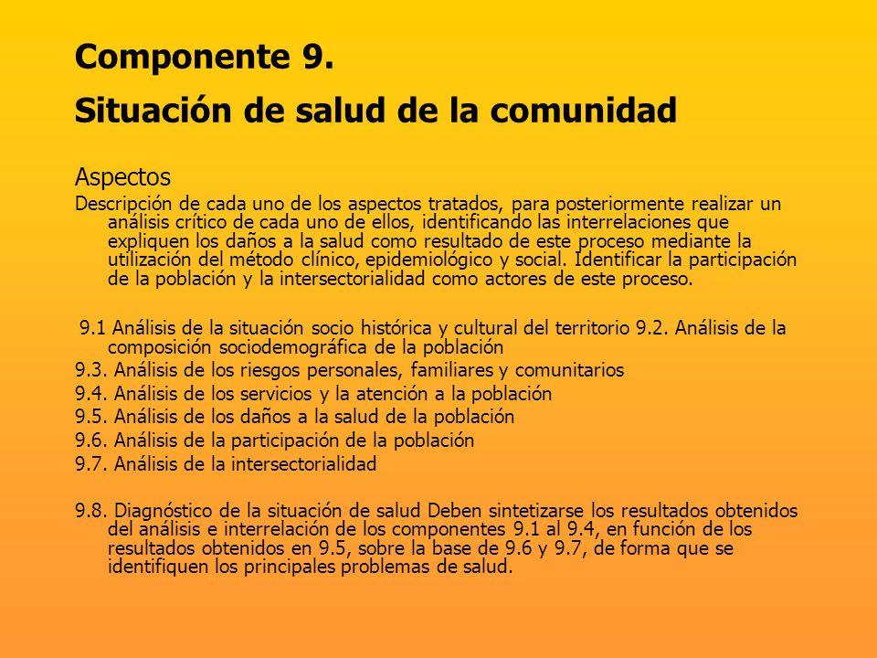 Componente 9. Situación de salud de la comunidad Aspectos Descripción de cada uno de los aspectos tratados, para posteriormente realizar un análisis c
