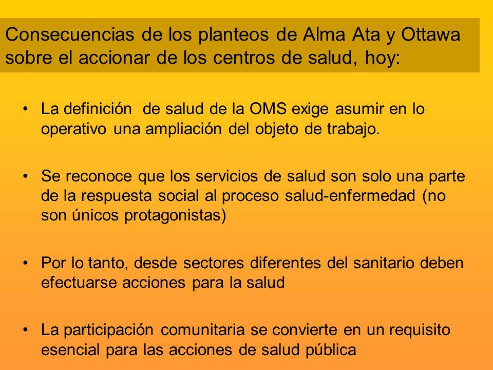 Consecuencias de los planteos de Alma Ata y Ottawa sobre el accionar de los centros de salud, hoy: La definición de salud de la OMS exige asumir en lo