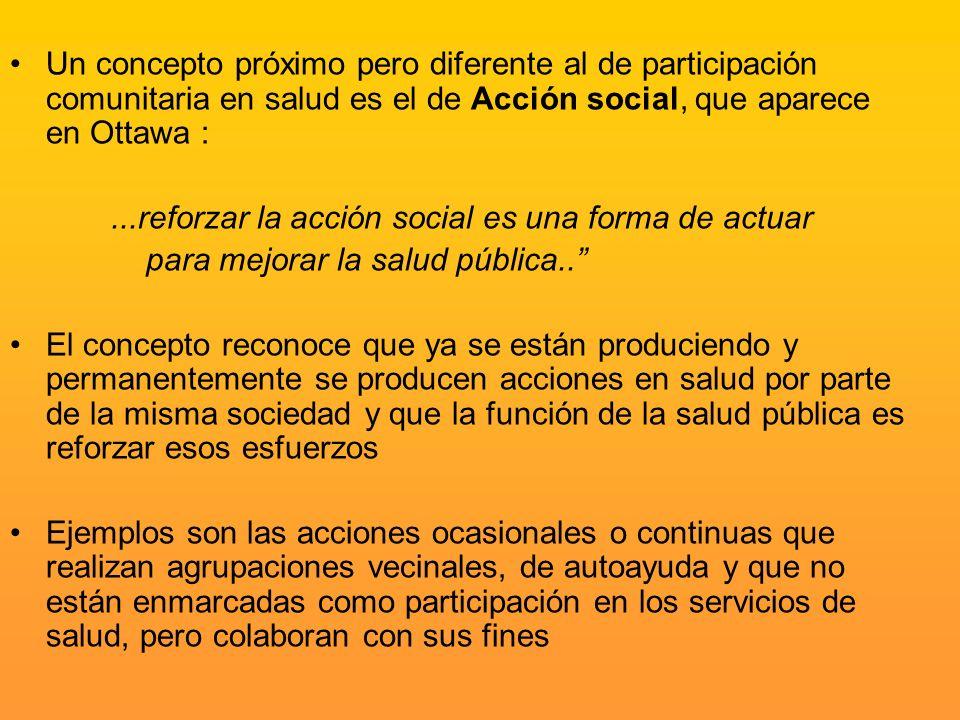 Un concepto próximo pero diferente al de participación comunitaria en salud es el de Acción social, que aparece en Ottawa :...reforzar la acción socia