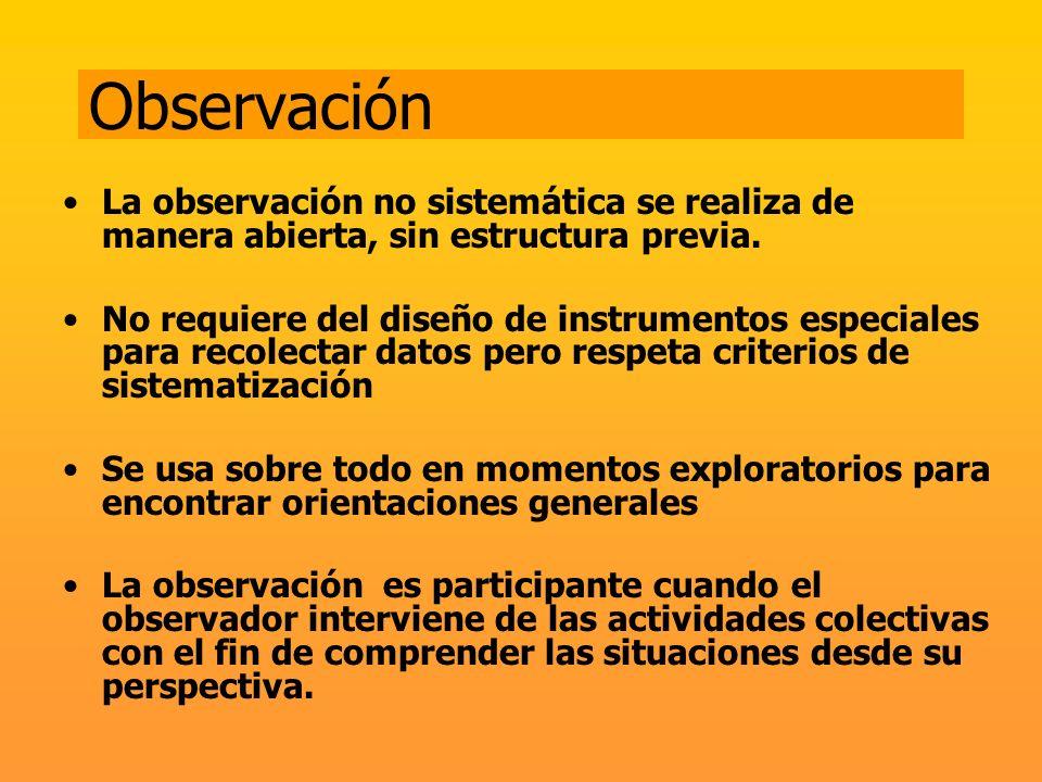 Observación La observación no sistemática se realiza de manera abierta, sin estructura previa. No requiere del diseño de instrumentos especiales para