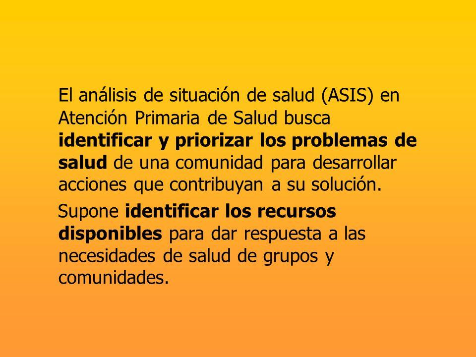 El análisis de situación de salud (ASIS) en Atención Primaria de Salud busca identificar y priorizar los problemas de salud de una comunidad para desa
