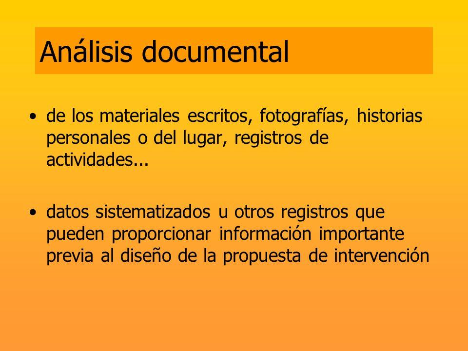 Análisis documental de los materiales escritos, fotografías, historias personales o del lugar, registros de actividades... datos sistematizados u otro